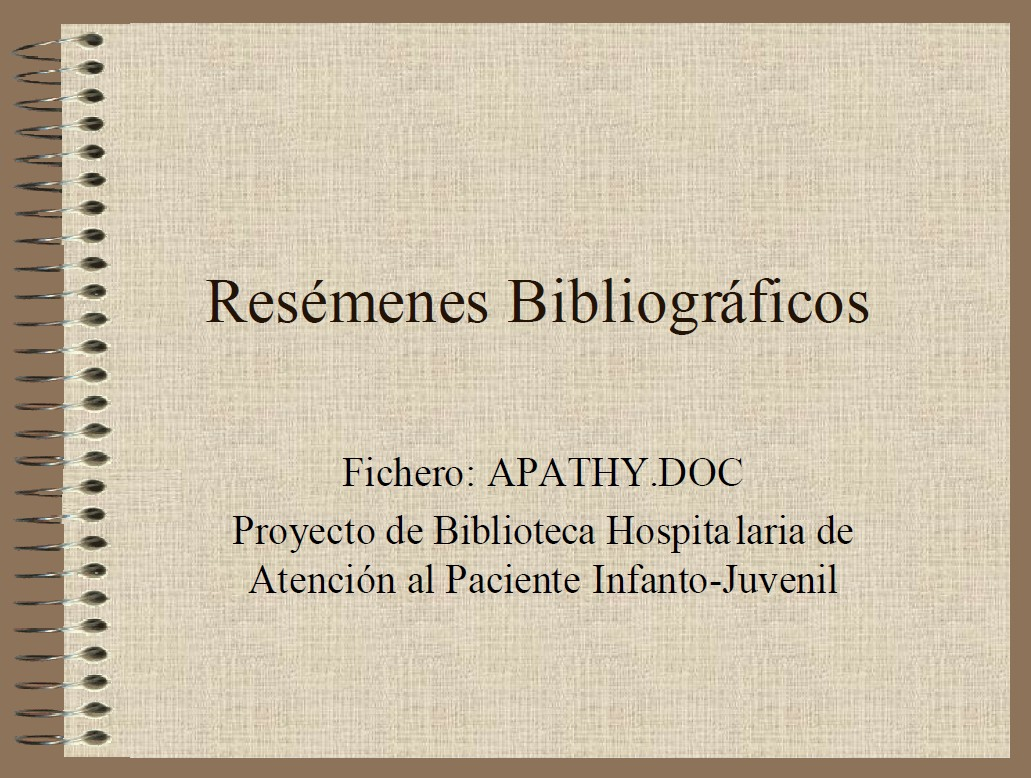 BIBLIOTECAS HOSPITALARIAS: Apata en los pacientes