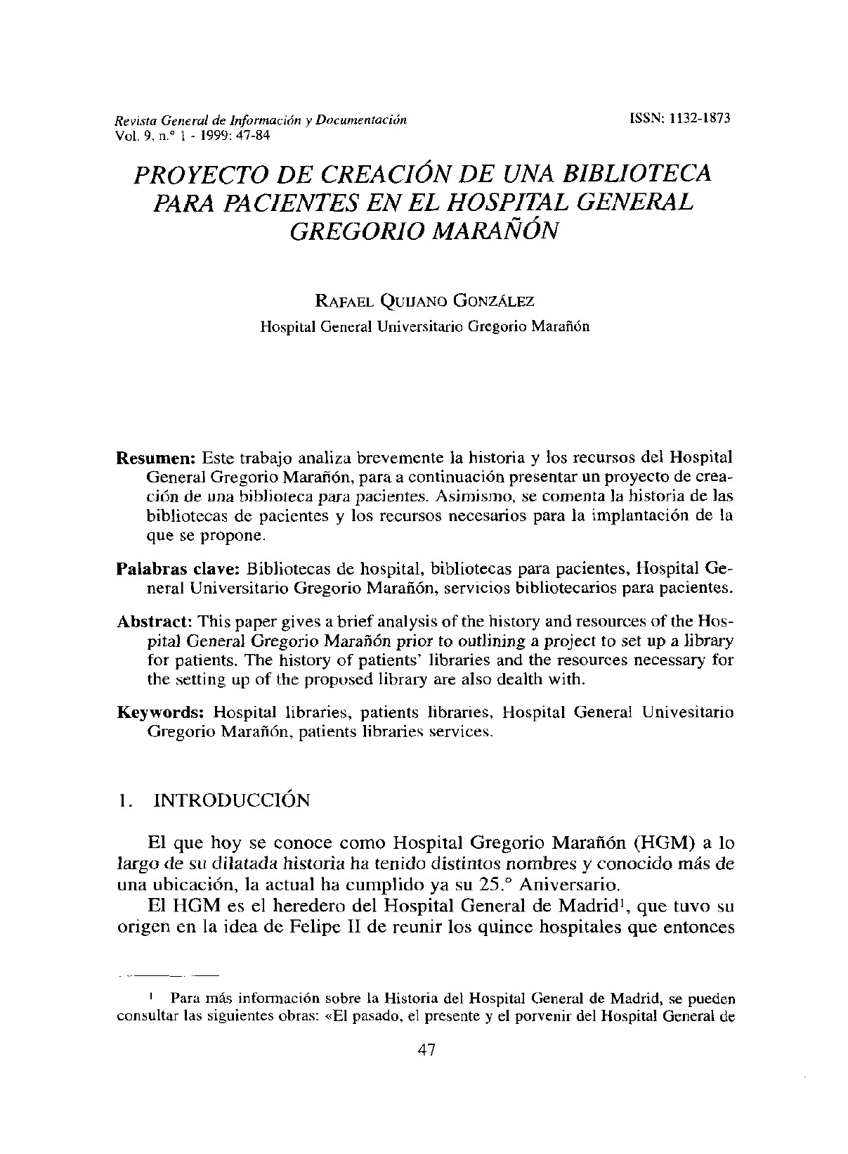 Proyecto de creacin de Biblioteca de Pacientes en el Hospital Gregorio Maran